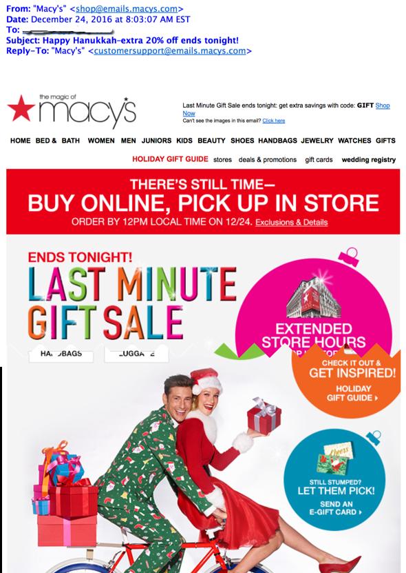 5 Campagnes Marketing de Noël qui ont Flopées | 5. Macy's qui confond Hanukkah et Noel